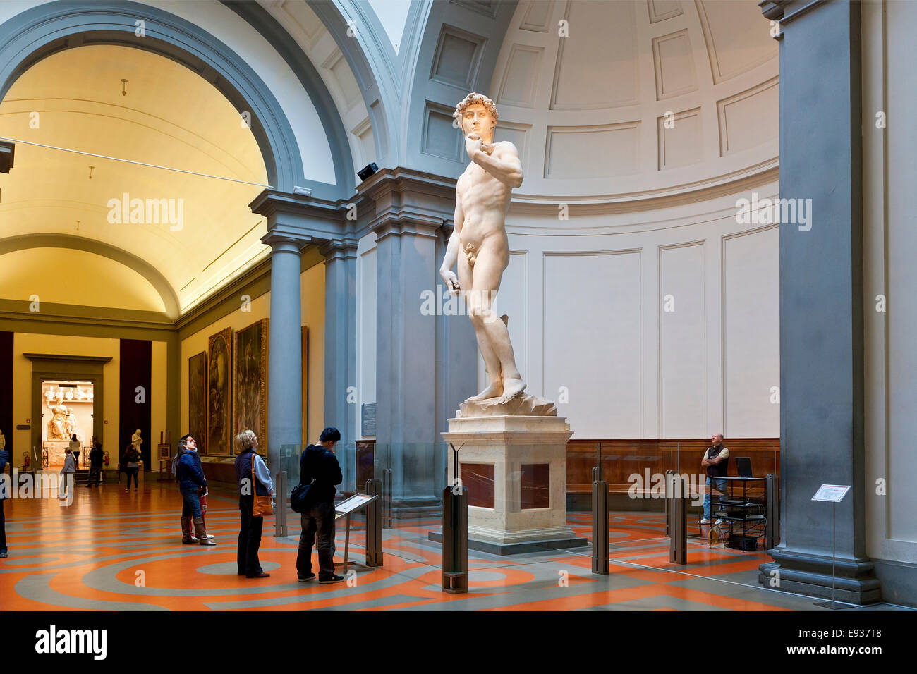 Europe, Italy, Florence, Accademia di Belle Arti, David by Michelangelo at the Galleria dell'Accademia - Stock Image