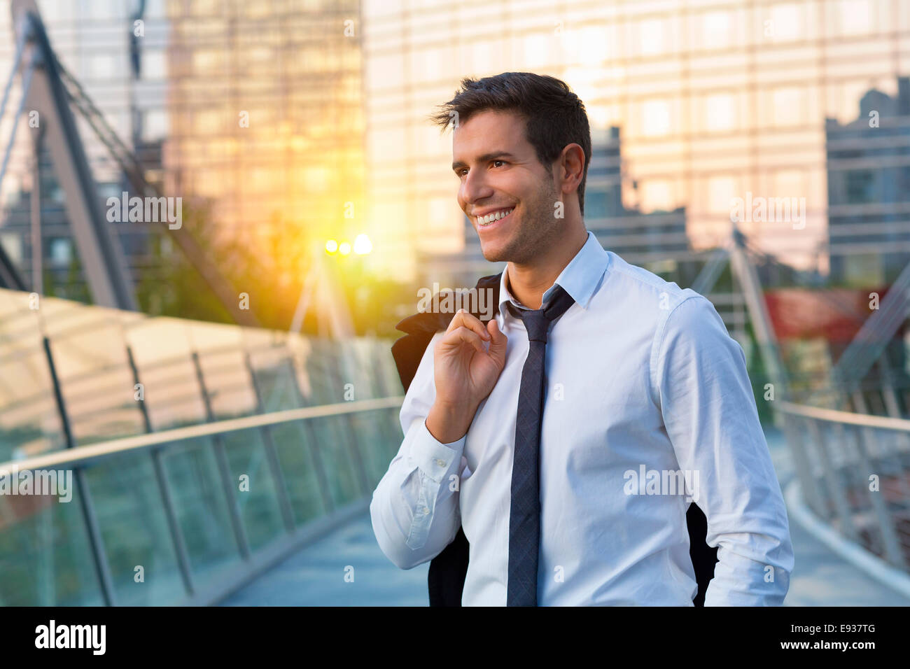 Portrait of Businessman in Financial district - Stock Image