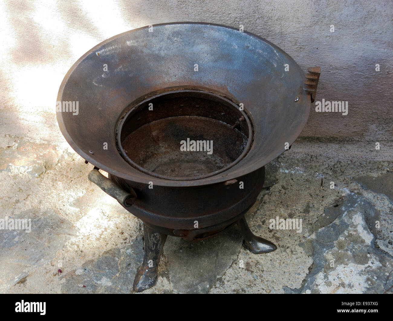Restored vintage coal burning heater. - Stock Image