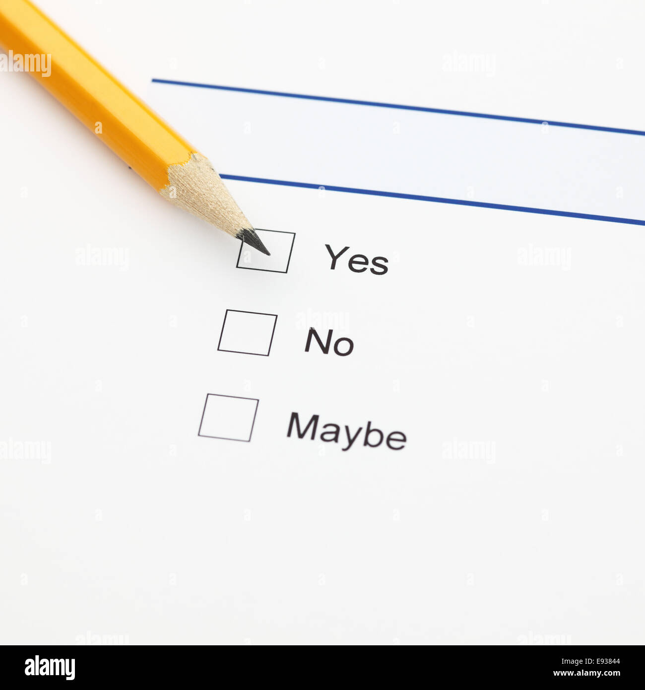 Survey: yes, no, maybe, and pencil - Stock Image