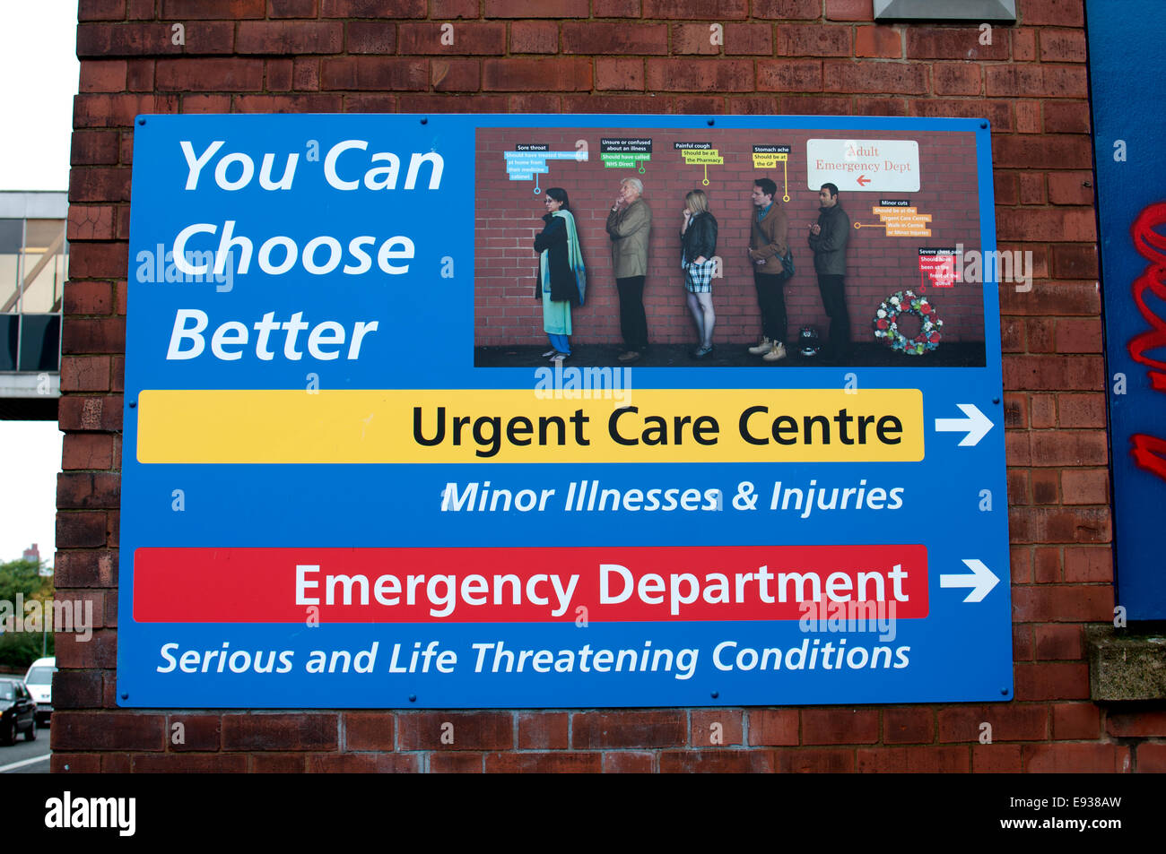 Sign at Leicester Royal Infirmary, Leicester, UK - Stock Image