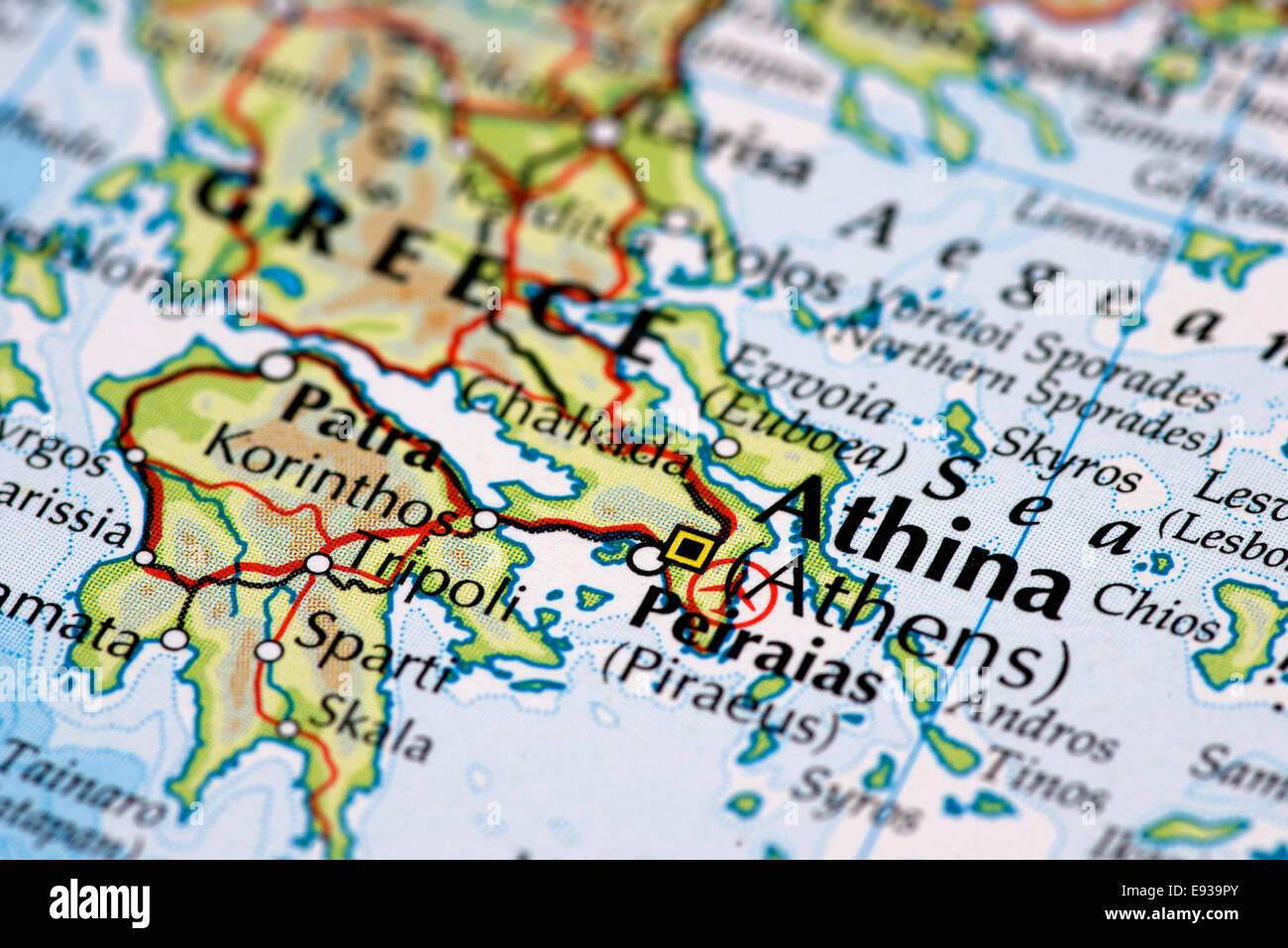 Close up map of Athens and Greece Stock Photo 74446931 Alamy