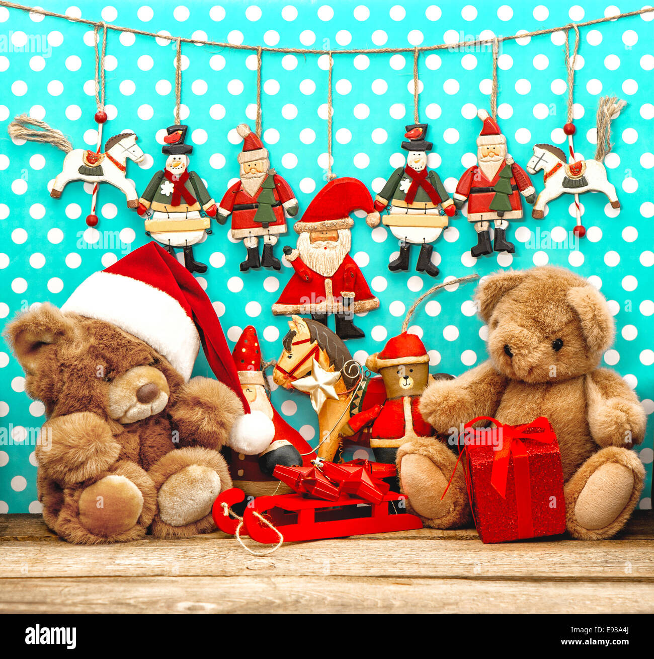 christmas decorations with vintage toys and teddy bear nostalgic holidays background
