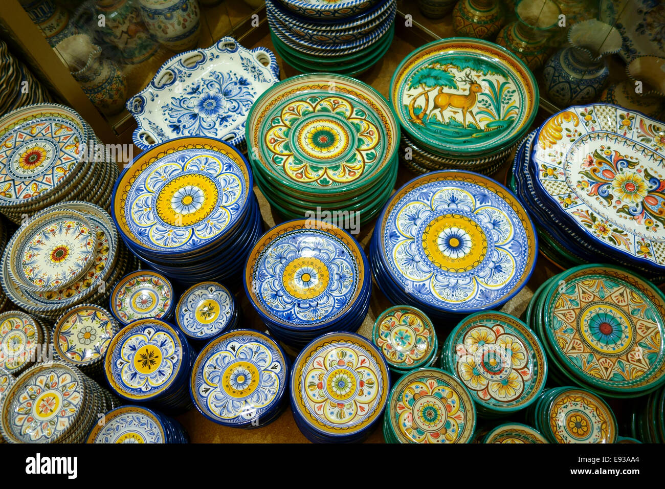 Spanish pottery and ceramic plates on display in shop store Mijas Andalusia Southern Spain. & Spanish pottery and ceramic plates on display in shop store Stock ...