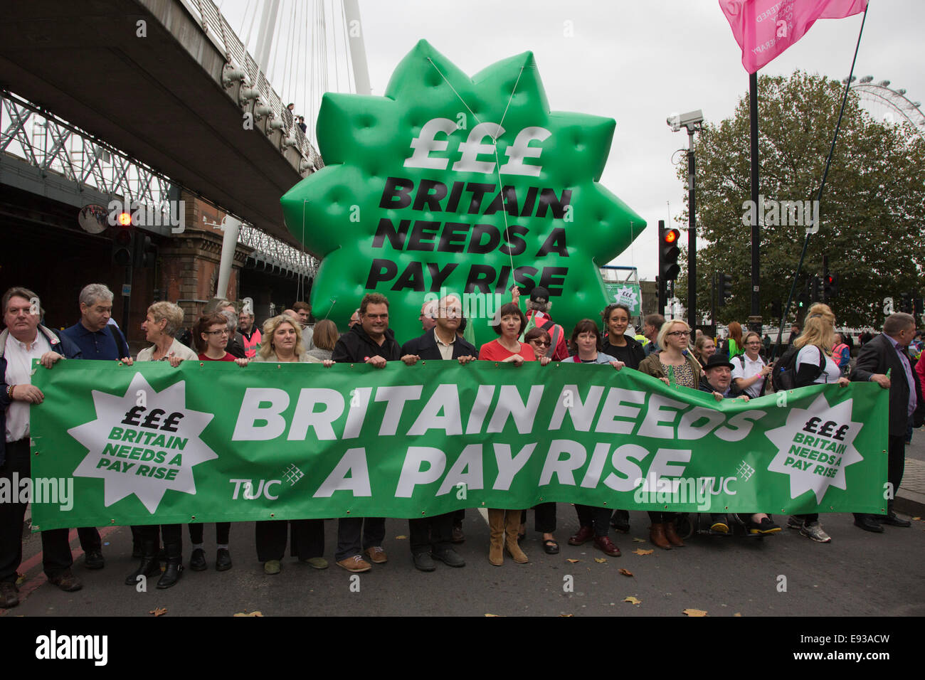 London, UK. 18 October 2014. The head of the parade with union representatives at Embankment. Britain Needs A Payrise: - Stock Image