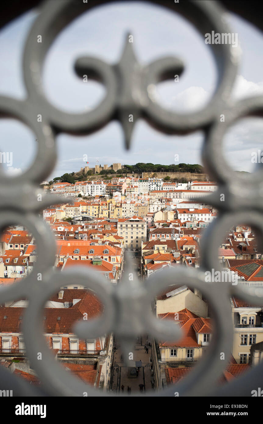 Vertical aerial cityscape of Lisbon. Stock Photo