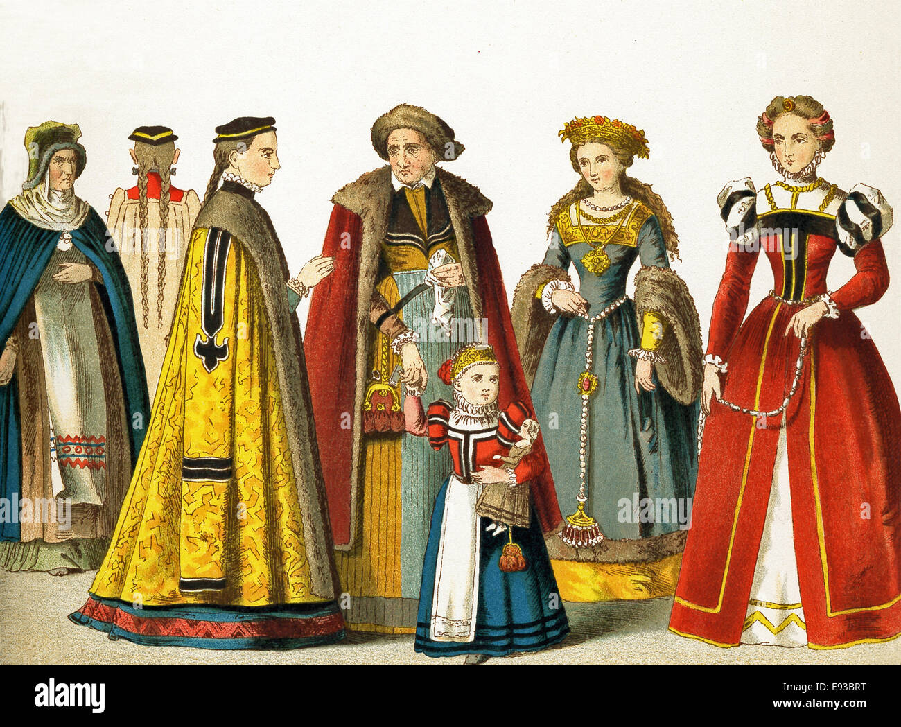 The German women represented here are, from left to right: woman from Bohemia, woman from Nuremberg, woman and child - Stock Image