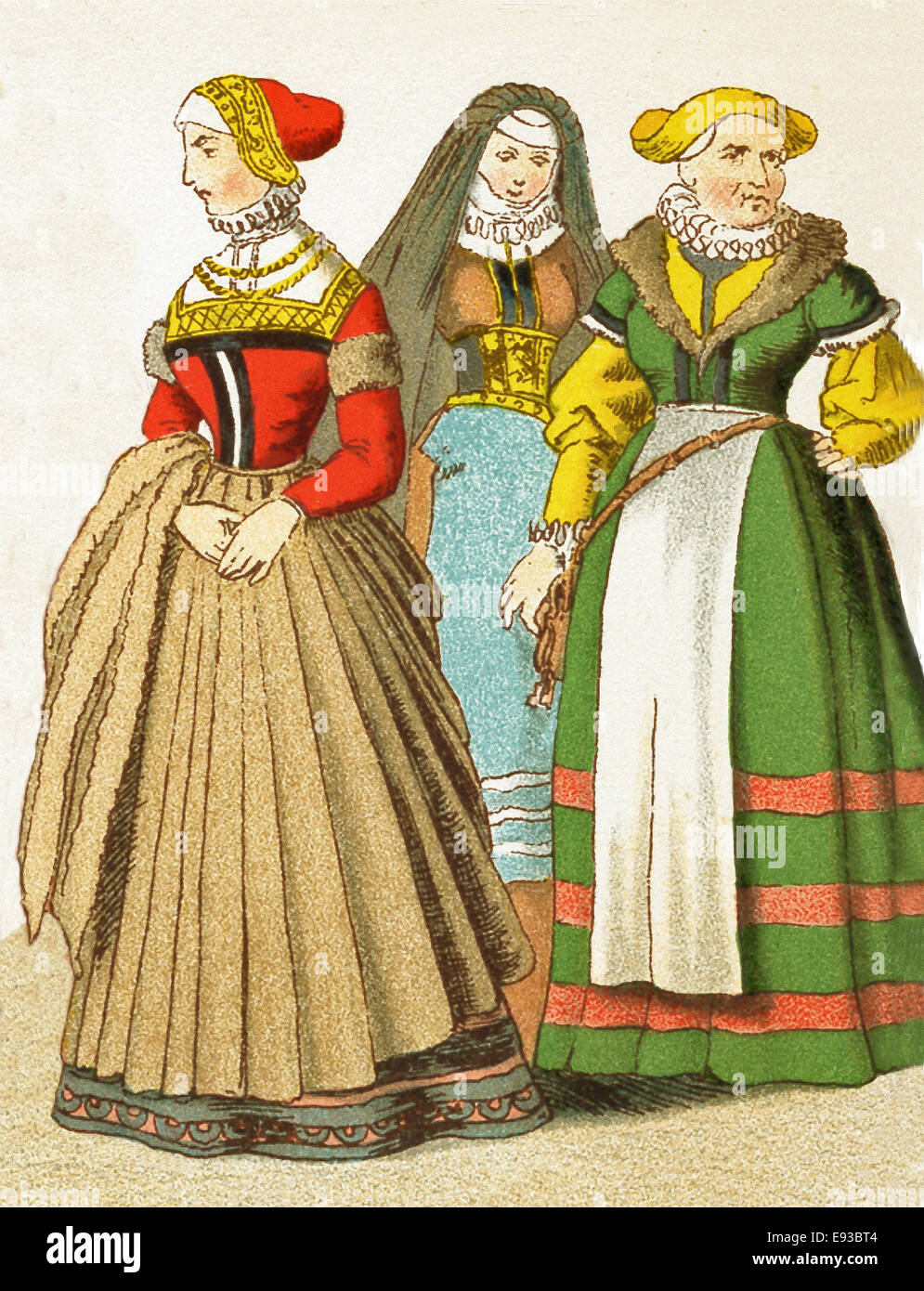 The German  figures represented here are, from left to right: woman from Nuremberg, woman from Frankfurt, woman - Stock Image