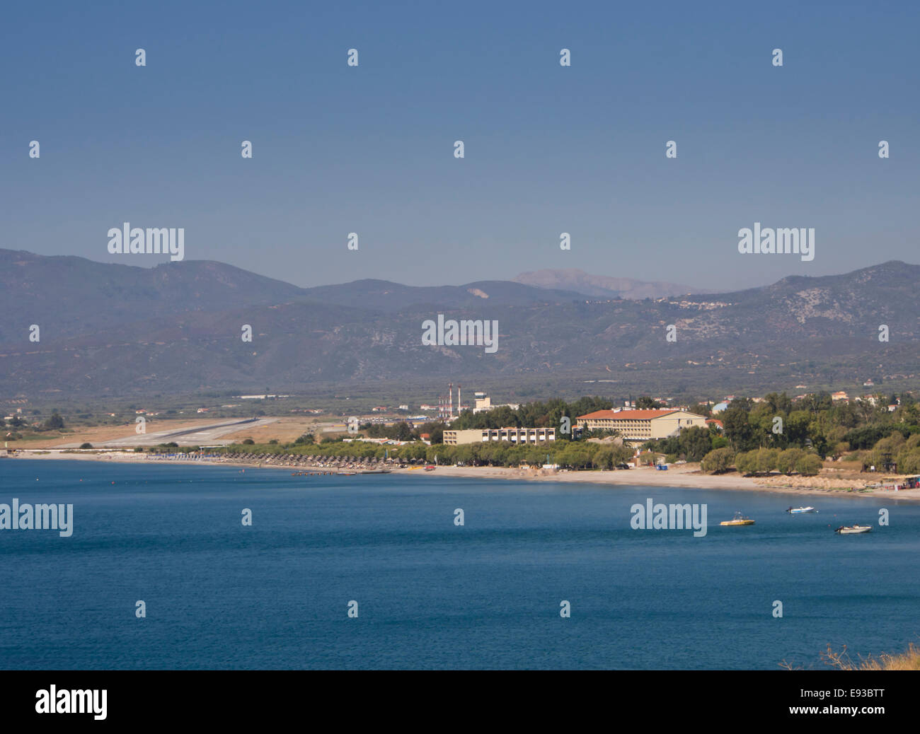 Panorama view of the infamous short runway of Samos international airport and Doryssa resort hotel, Greek island - Stock Image
