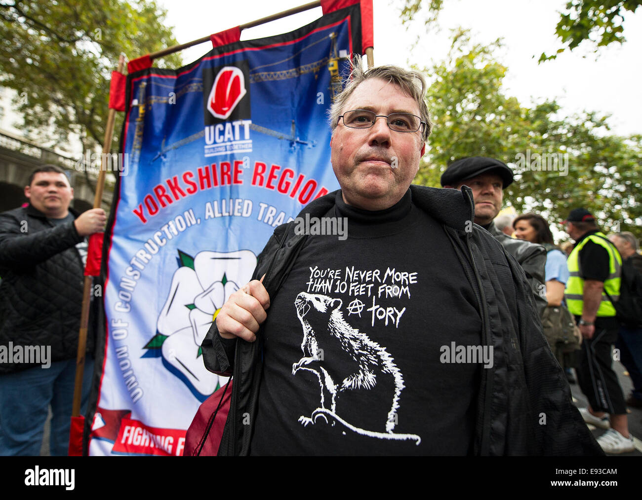 London, UK. 18 October 2014. 'Britain Needs A Payrise'   A TUC national demonstration in Central London. - Stock Image