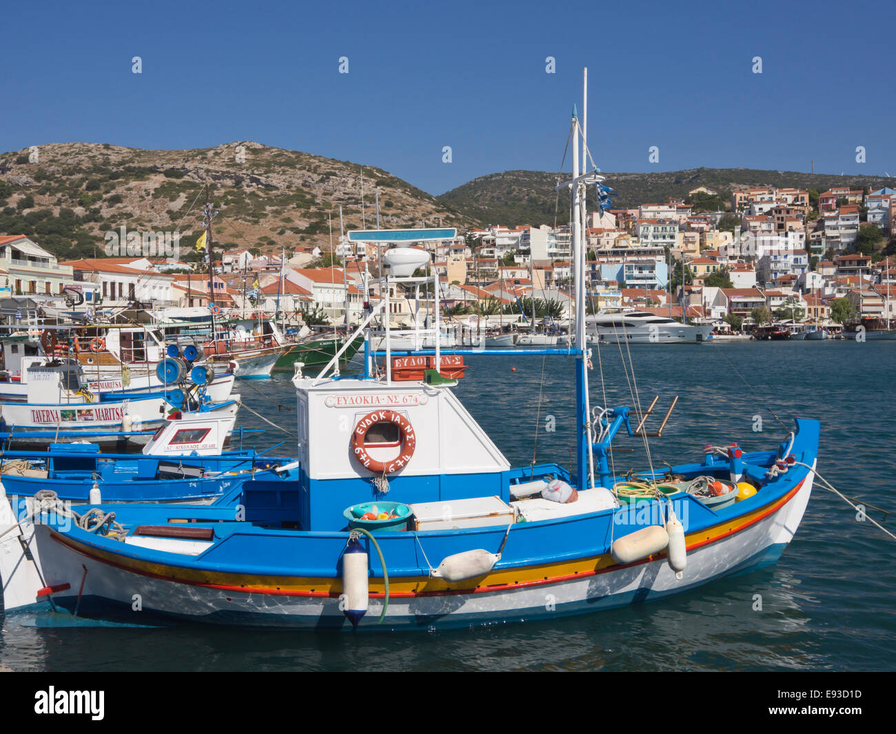 Fishing boats in the harbour of Pythagorion in Samos island Greece. Summer, sun, colours and idyllic summer impressions Stock Photo
