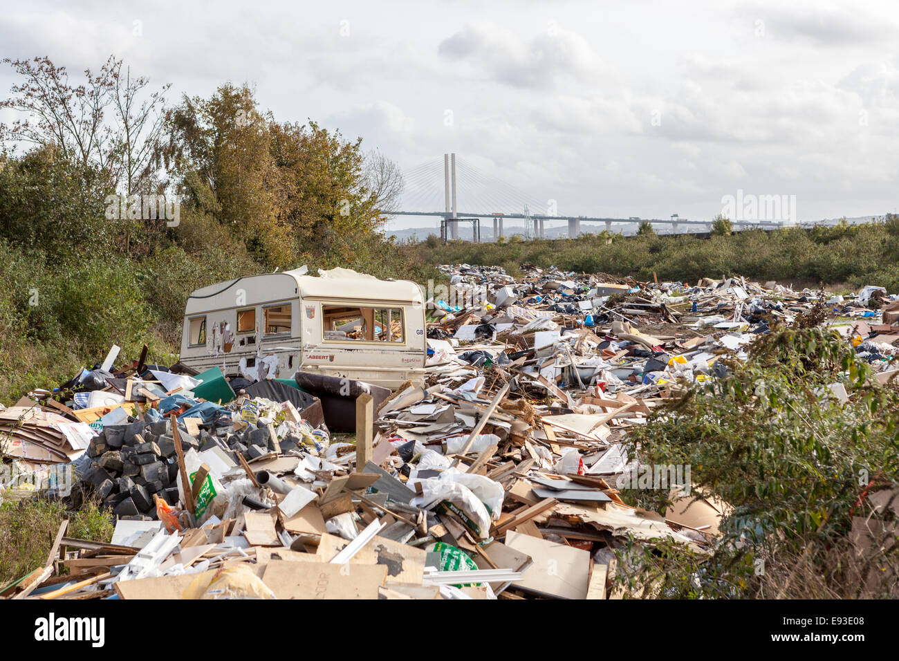 Recently demolished traveller's site in the London Borough of Havering - Stock Image
