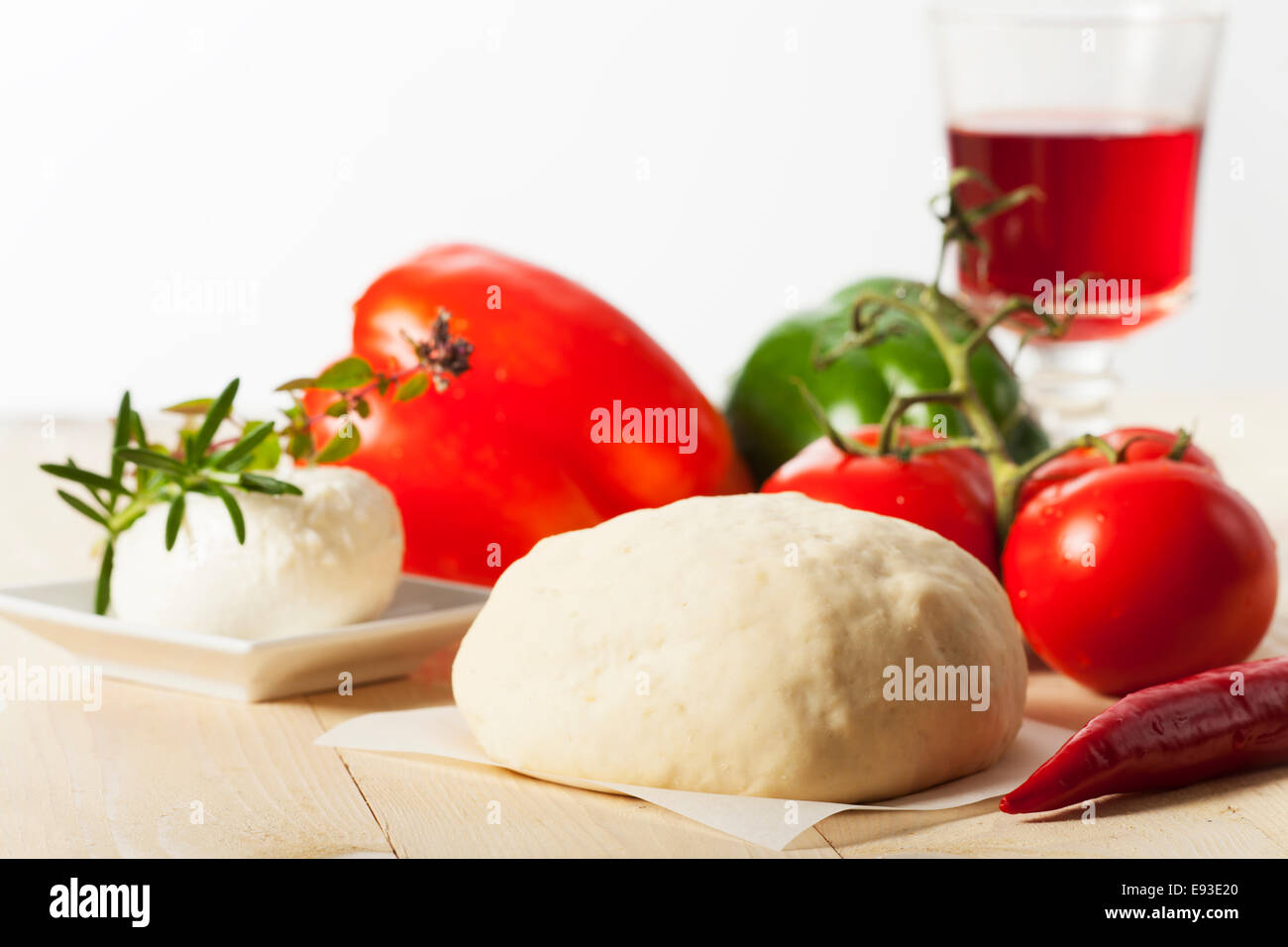 raw yeast dough for a pizza - Stock Image