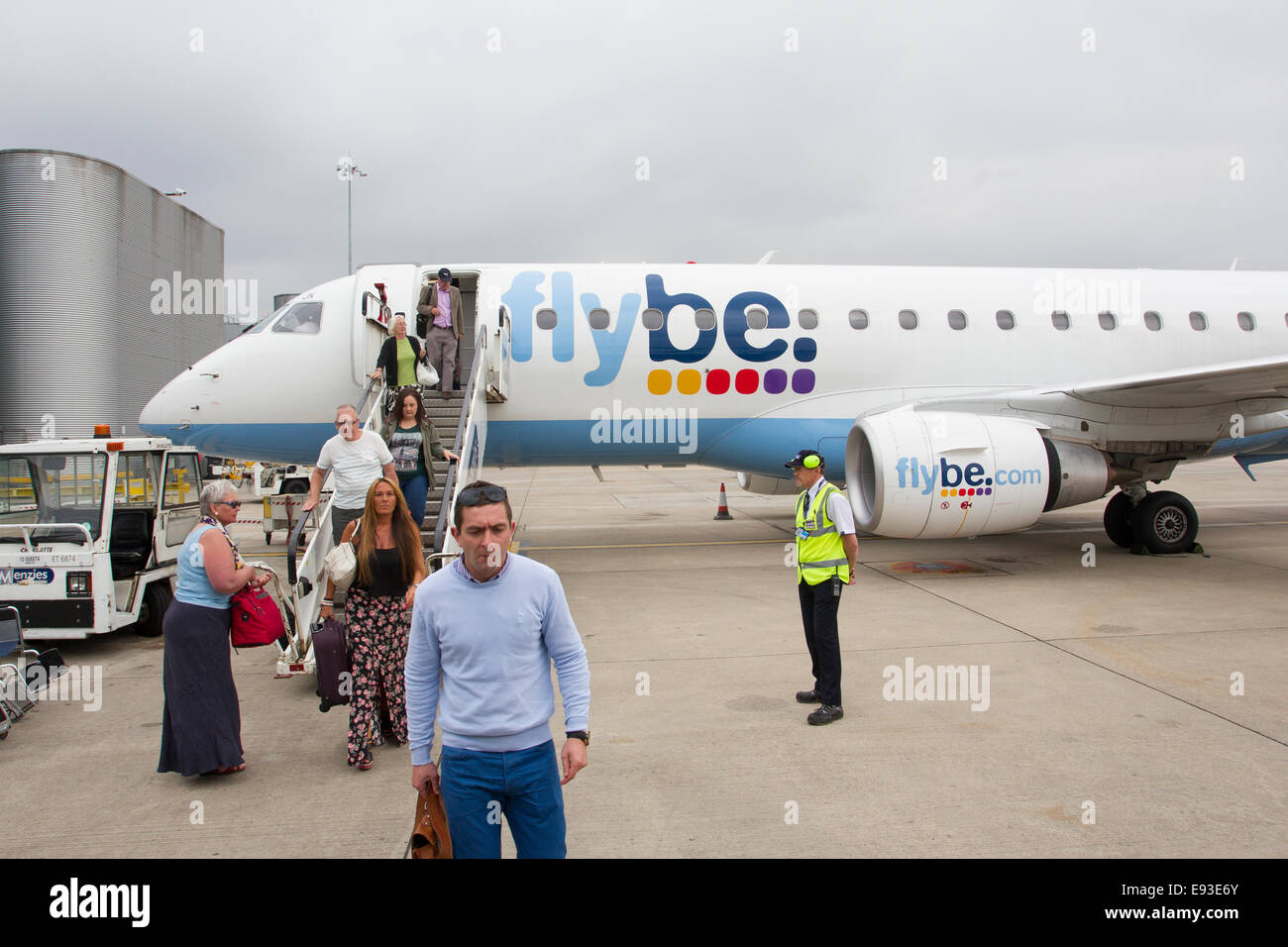 Flybe arrivals - arriving at Manchester Airport - Stock Image