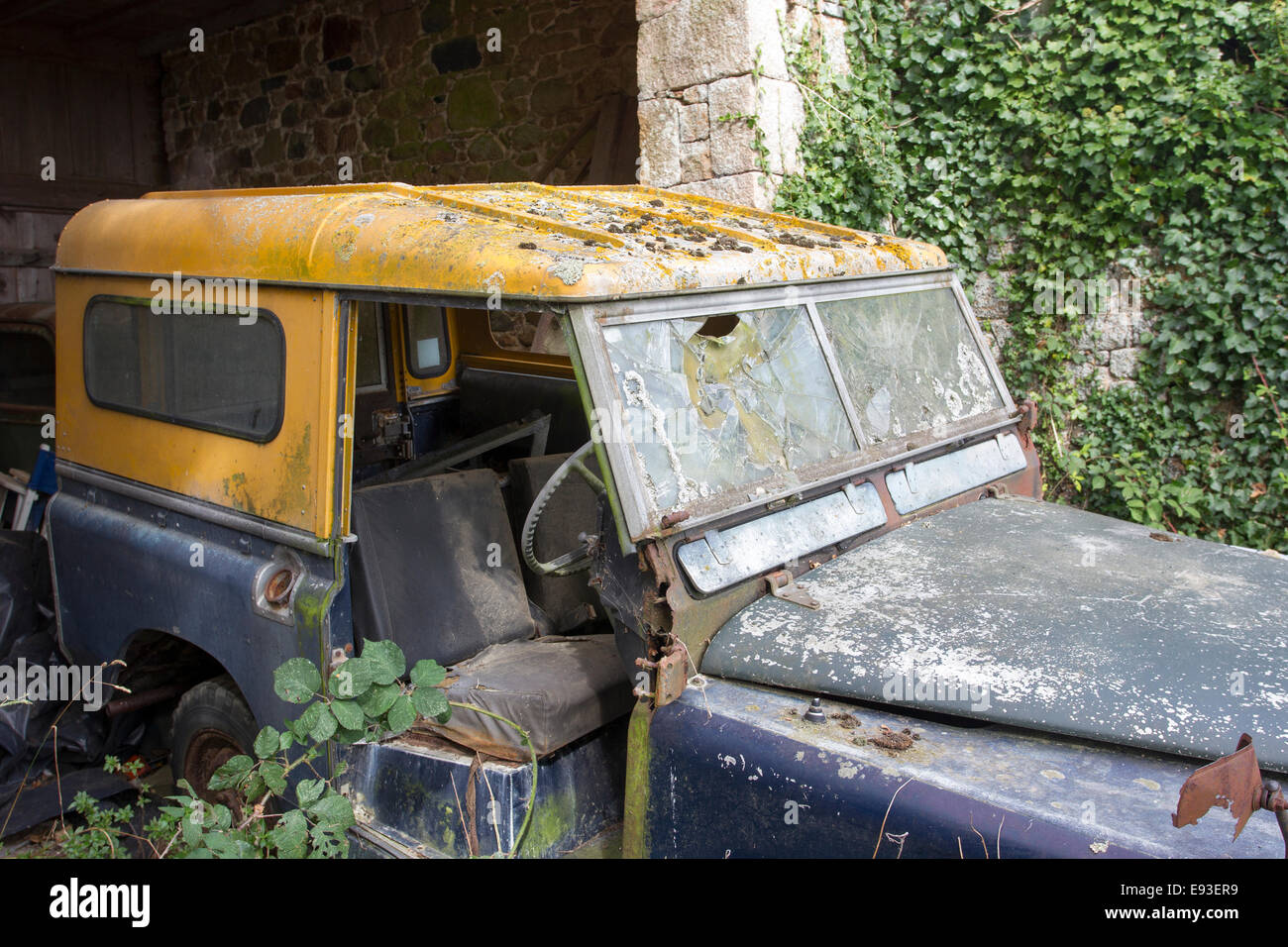 Found Jersey the Channel Islands old Land Rover in need of a bit of TLC - Stock Image