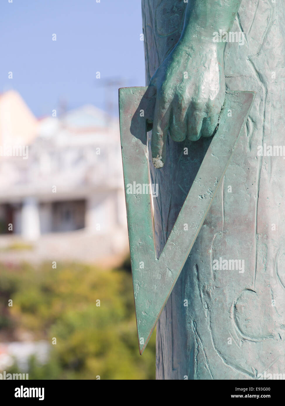 Pythagoras of Samos, monument erected in his home town named after him, Pythagorion in the island of Samos Greece Stock Photo