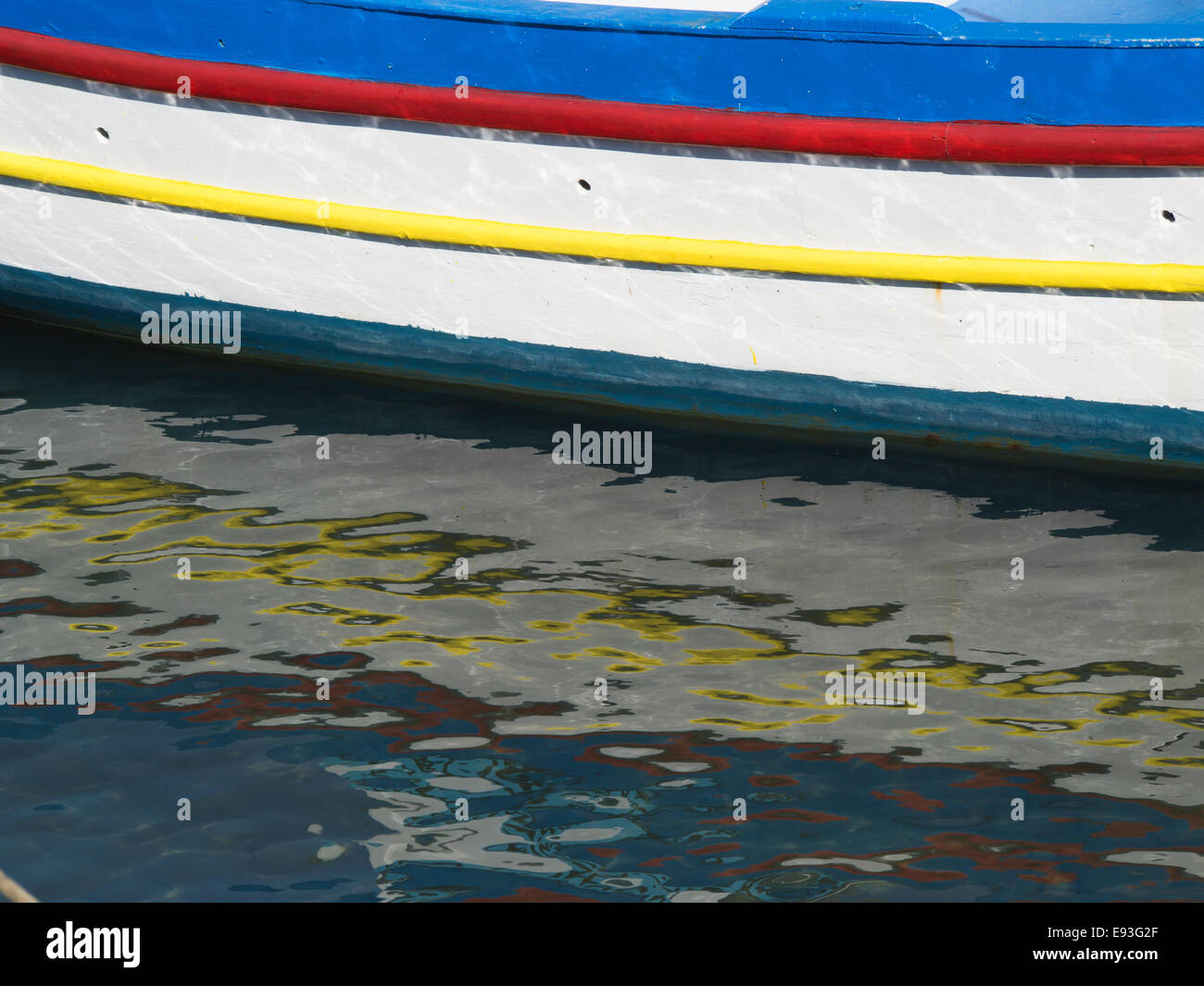 Fishing boat in the harbour of Pythagorion in Samos island Greece. Summer, sun, colours and idyllic summer impressions Stock Photo