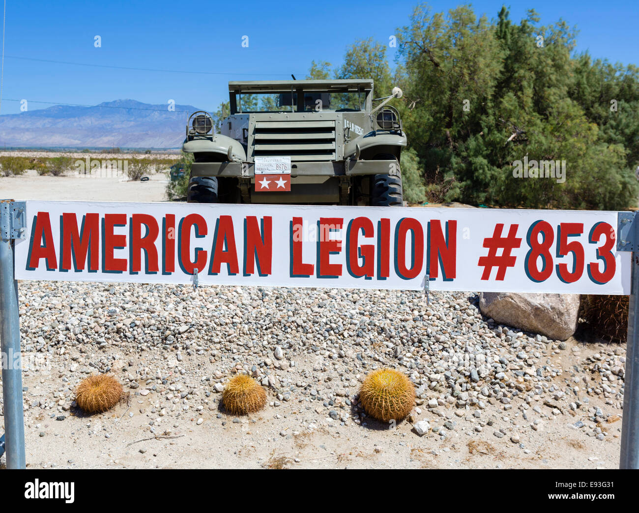 American Legion Post 853  in Borrego Springs, Anza-Borrego Desert State Park, Southern California, USA - Stock Image