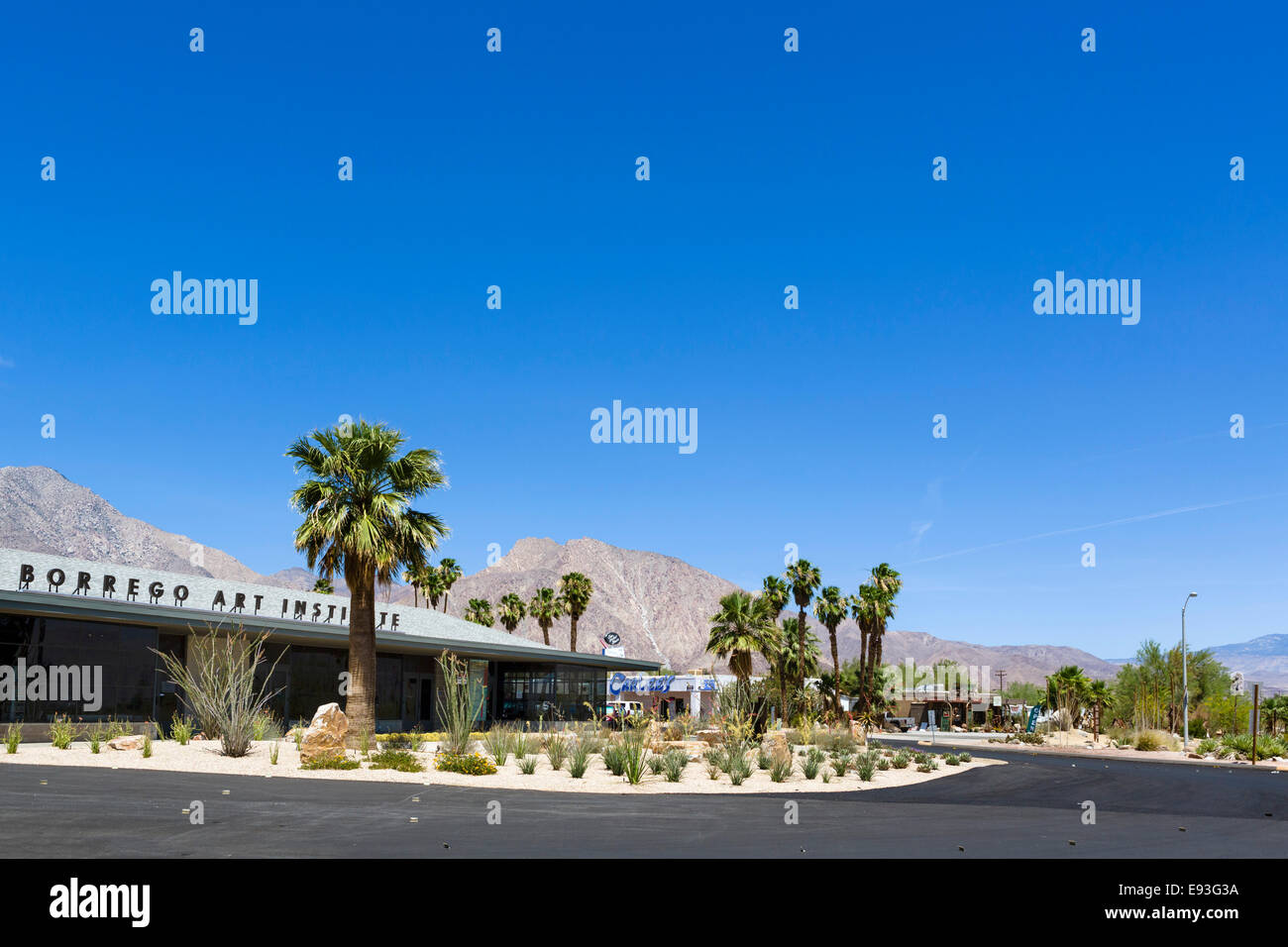The Borrego Art Institute in downtown Borrego Springs, Anza-Borrego Desert State Park, Southern California, USA - Stock Image
