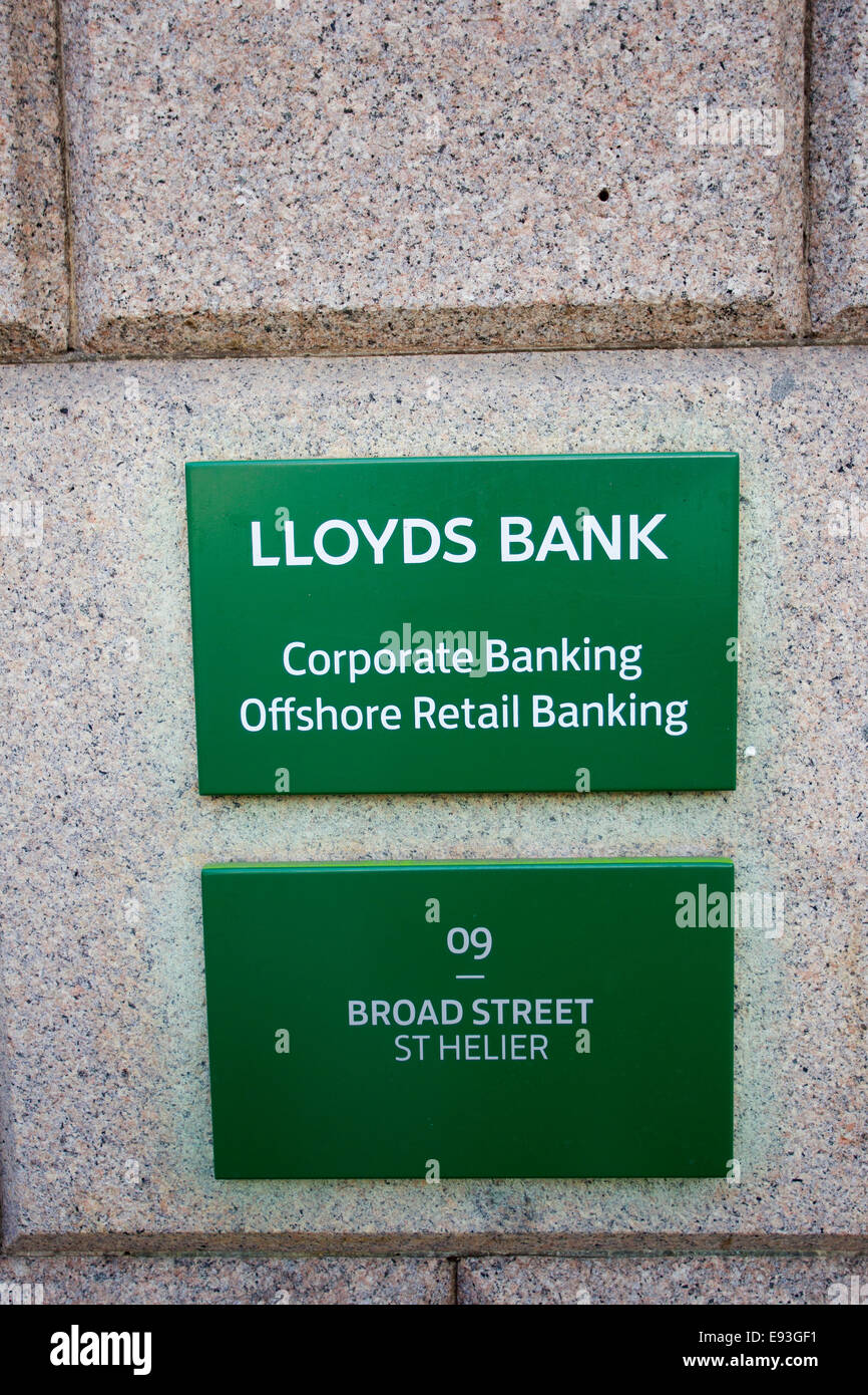 Lloyds Bank Corporate Banking Offshore Retail Banking Broad Street  St Helier Jersey The Channel Islands - Stock Image