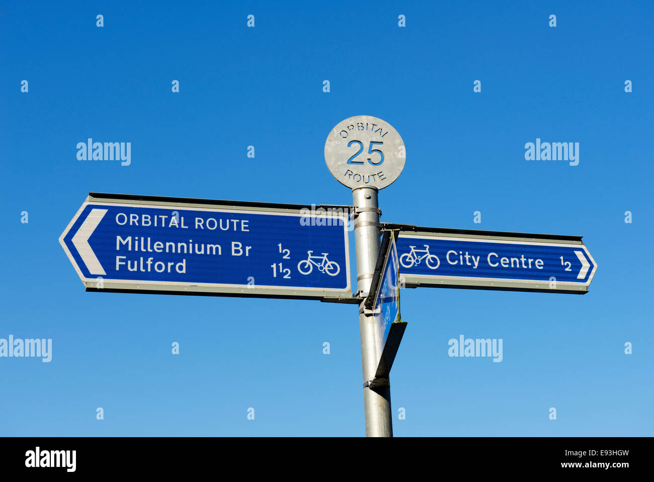 Sign for York's orbital cycle route, North Yorkshire, England UK - Stock Image