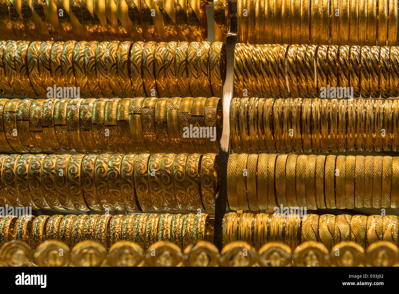 Gold jewelry for sale in the Grand Bazaar Istanbul Turkey Stock