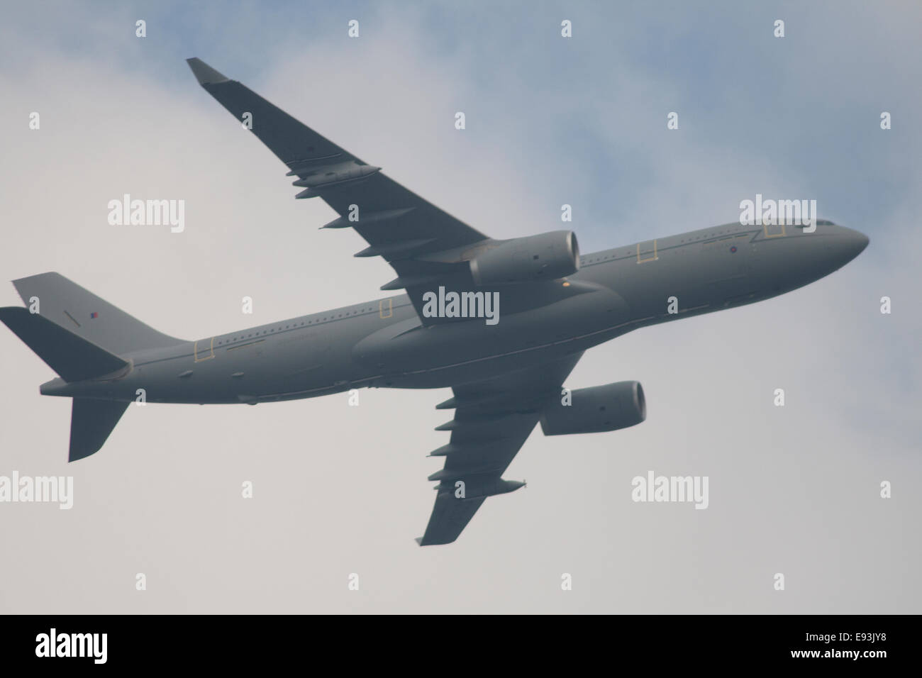 RAF Voyager, the new airborne refuelling tanker plane flying over Cardiff Bay during the 2014 NATO summit meeting. - Stock Image