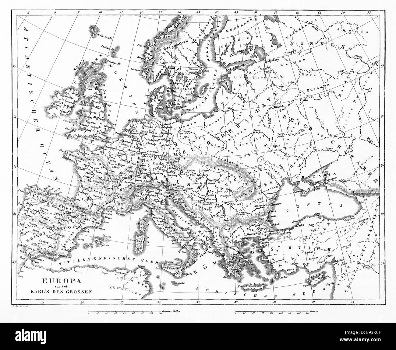 Map Of Europe Black And White Stock Photos Images Alamy