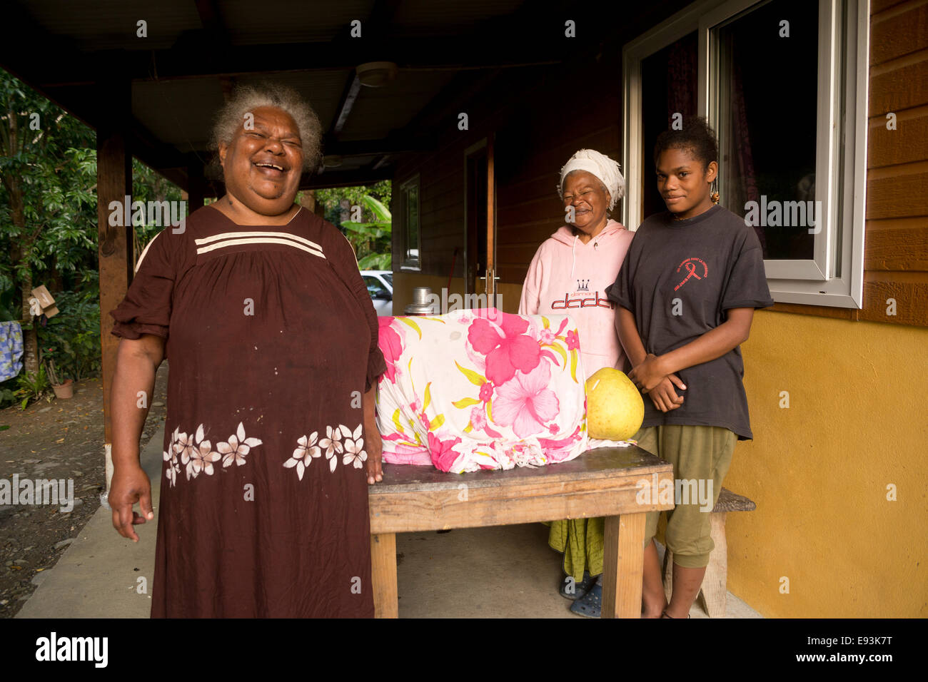 Elder local Kanak woman laughing, Hienghène, North Province, Grande Terre, New Caledonia, Oceania - Stock Image