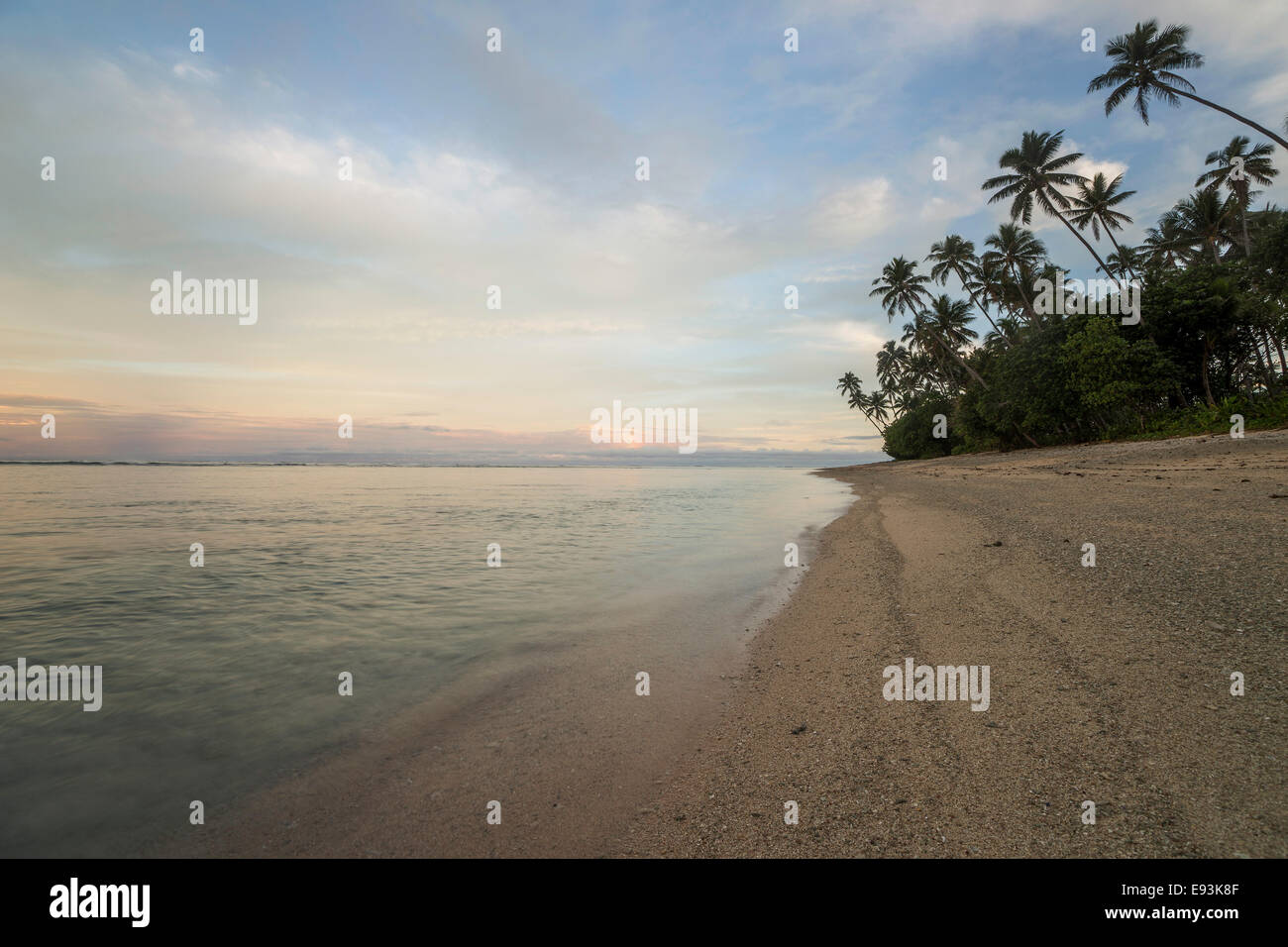 Sunset at Lavena beach, Taveuni, Fiji, Oceania - Stock Image