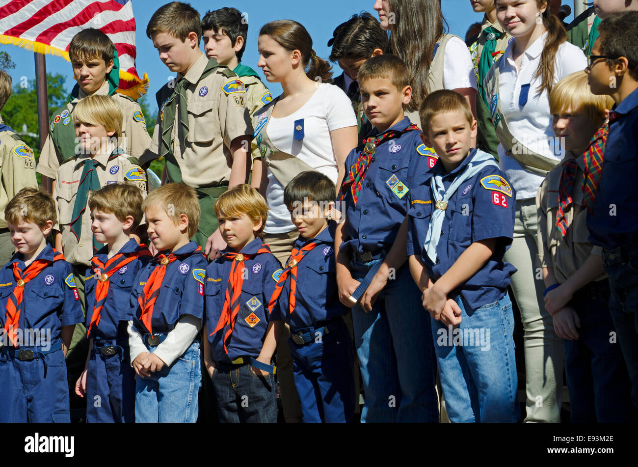 boy scouts girl scouts and cub scouts of america stand at