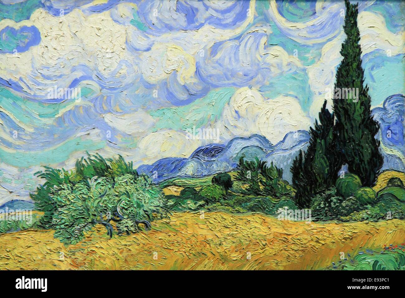 Wheat field with cypresses, Vincent Van Gogh, 1889, Metropolitan Museum of Art, New York City, USA - Stock Image