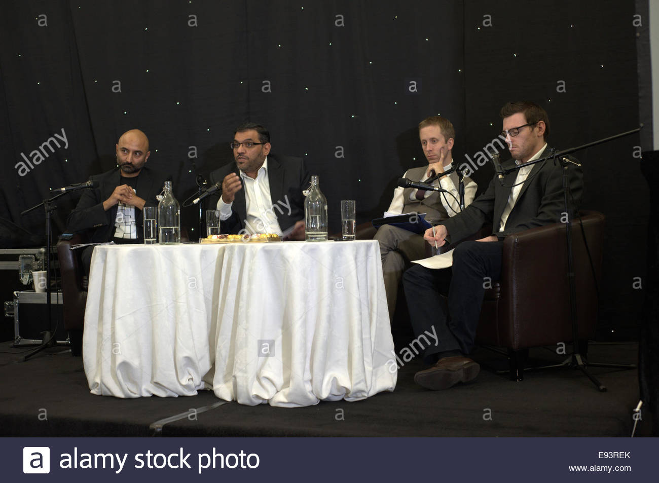 Anas Al Abdeh Aka Abdah Listening To Members Of The Audience At Syria Conflict Conference In Manchester UK On 17th October 2014