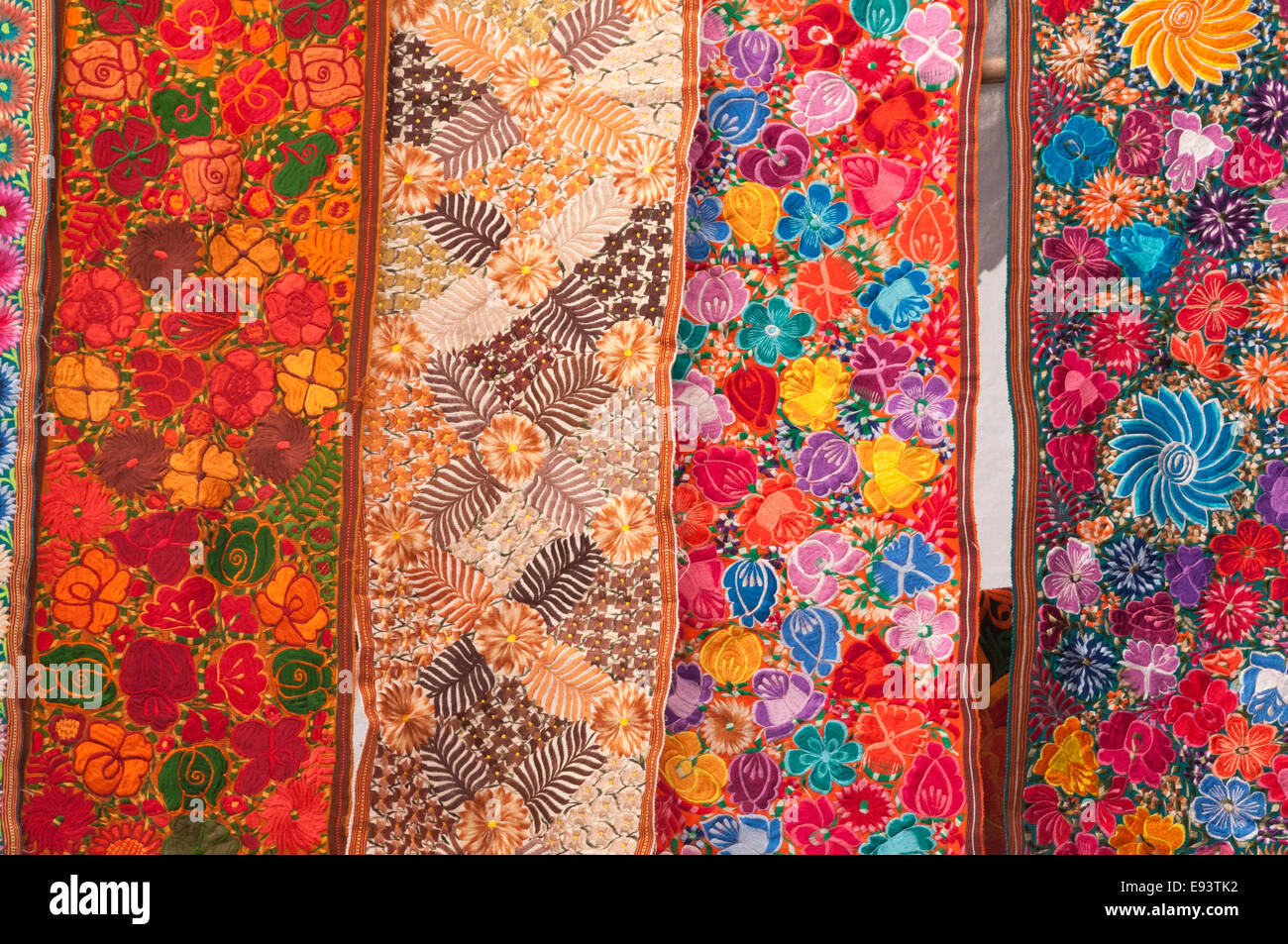 Colorful textiles, blankets for sale, Chichicastenango, Guatemala - Stock Image