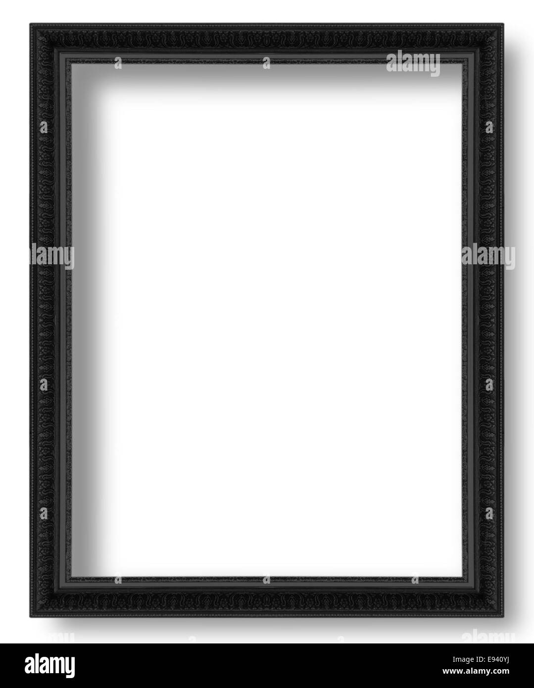 black antique picture frames. Old Black Antique Picture Frames Isolated On White Background. - Stock Image E