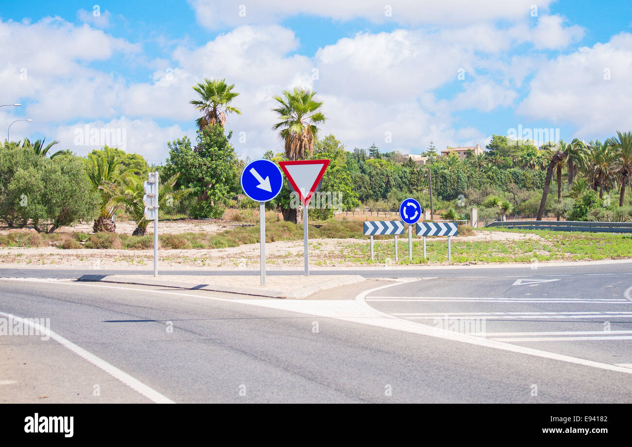 Road and roundabout on the the Balearic Islands. - Stock Image
