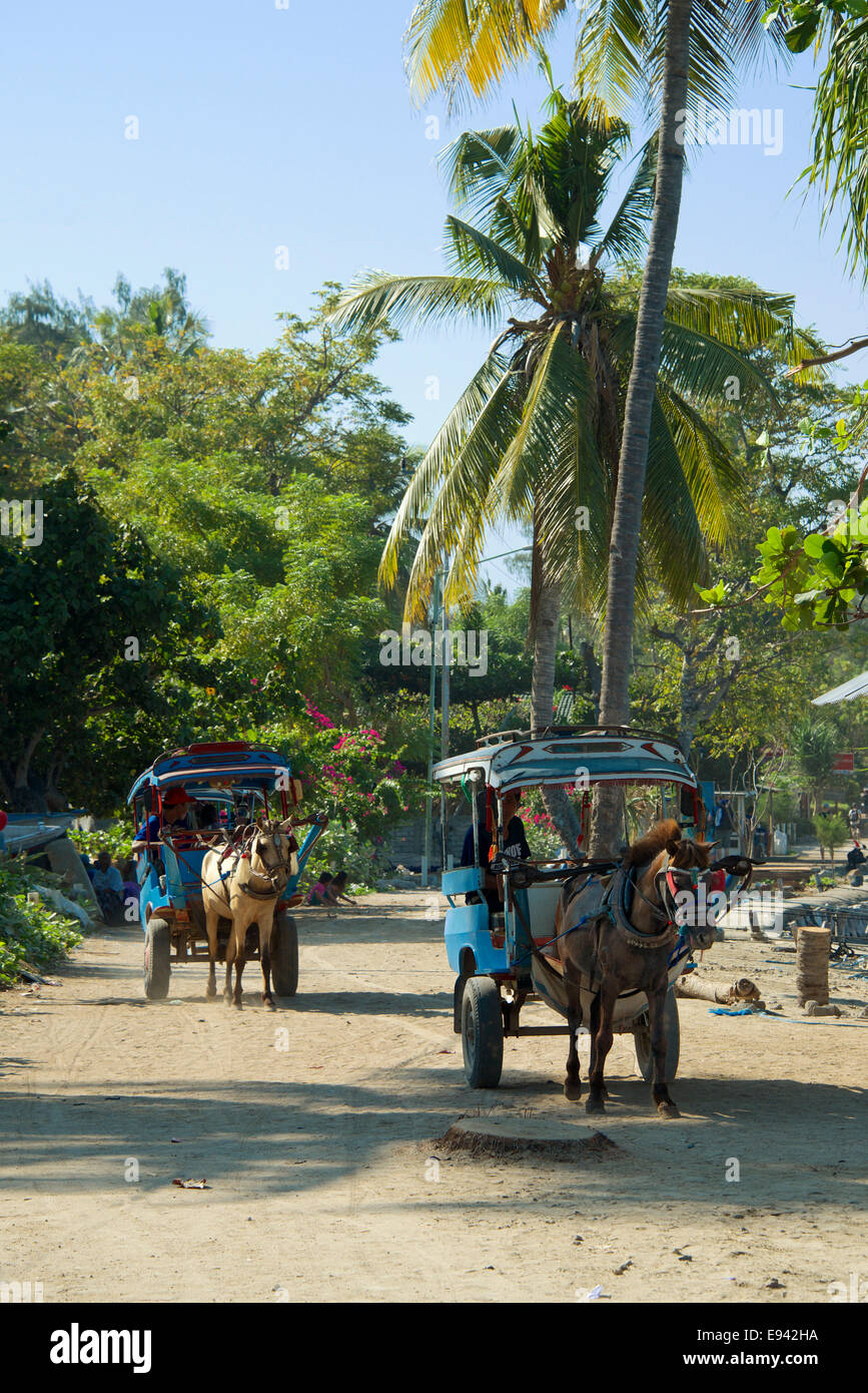 Two horse drawn taxis Gili Air Lombok Indonesia - Stock Image