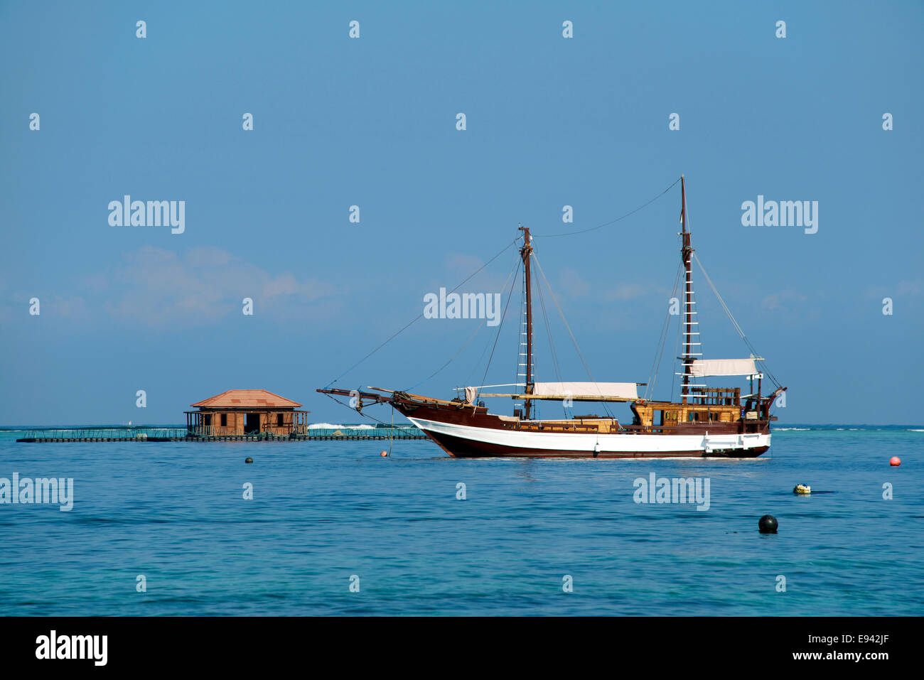Two masted yacht Gili Air Lombok Indonesia - Stock Image