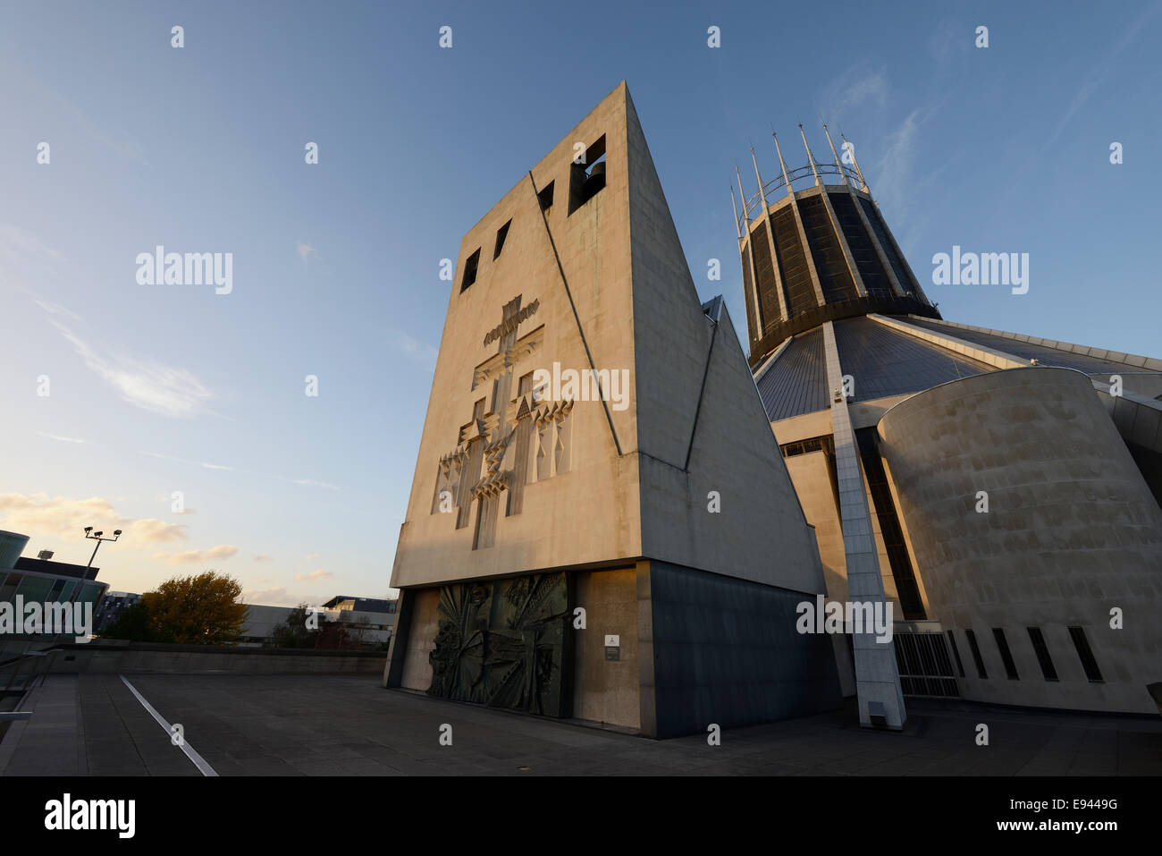 Evening sun on the Metropolitan Cathedral of Christ the King in Liverpool city centre UK Stock Photo