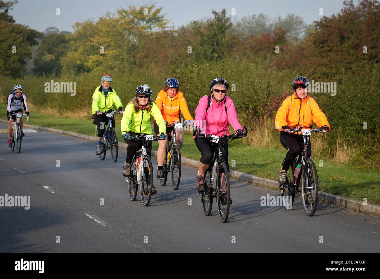 Group of ladies on an organised cycling event - Stock Image