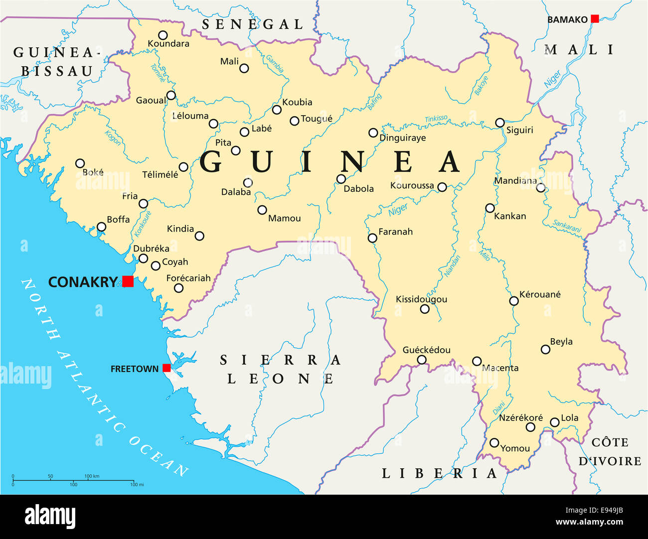 Guinea Political Map with capital Conakry national borders Stock