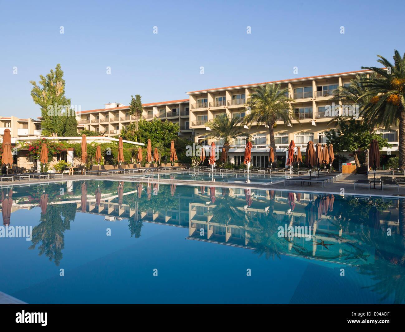 Doryssa seaside resort, hotel in Phytagorion Samos island Greece - Stock Image