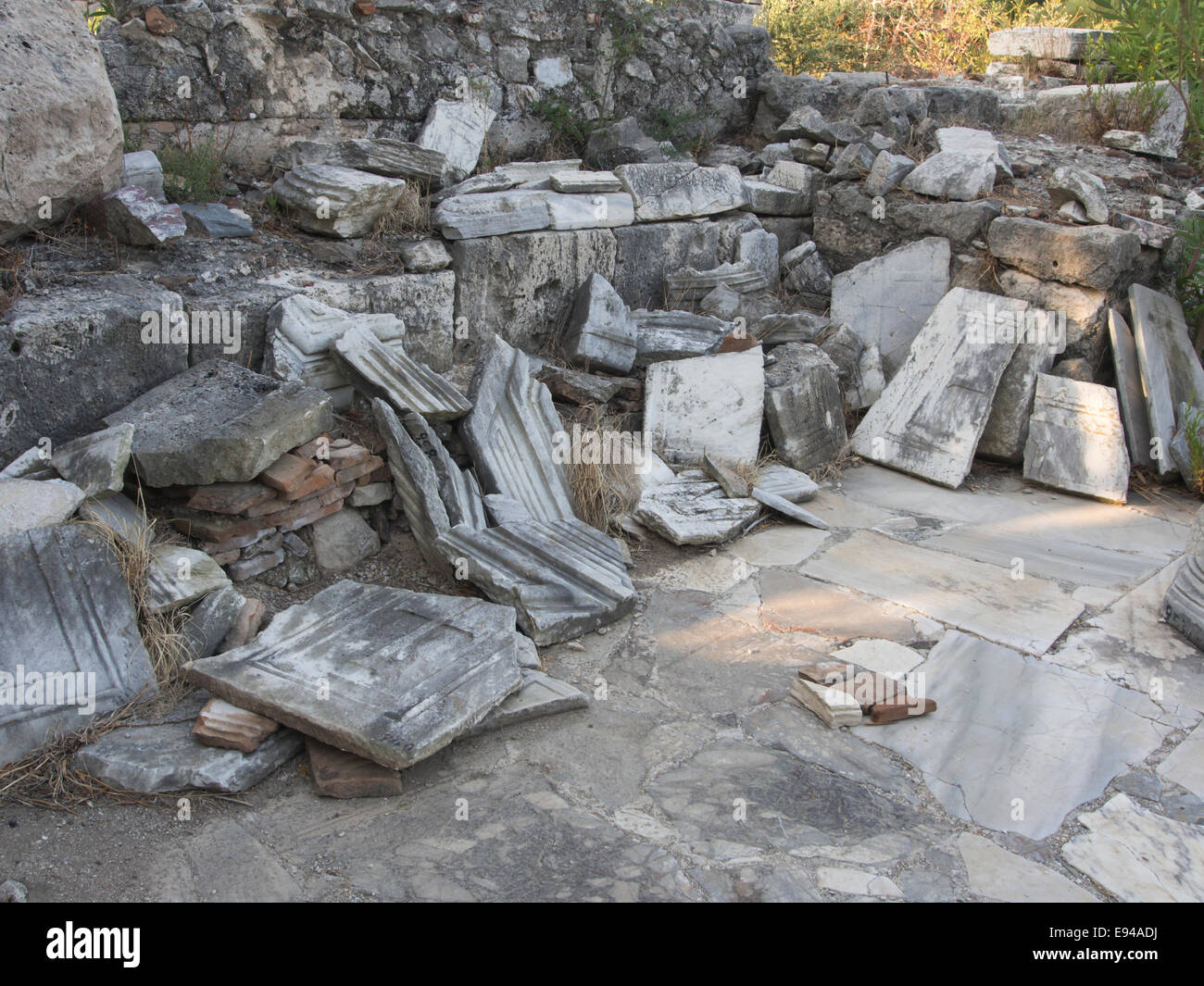 Ruins of the athletic area of Ancient Samos Greece, one of the many sights near Pythagorio, archaeological puzzle - Stock Image