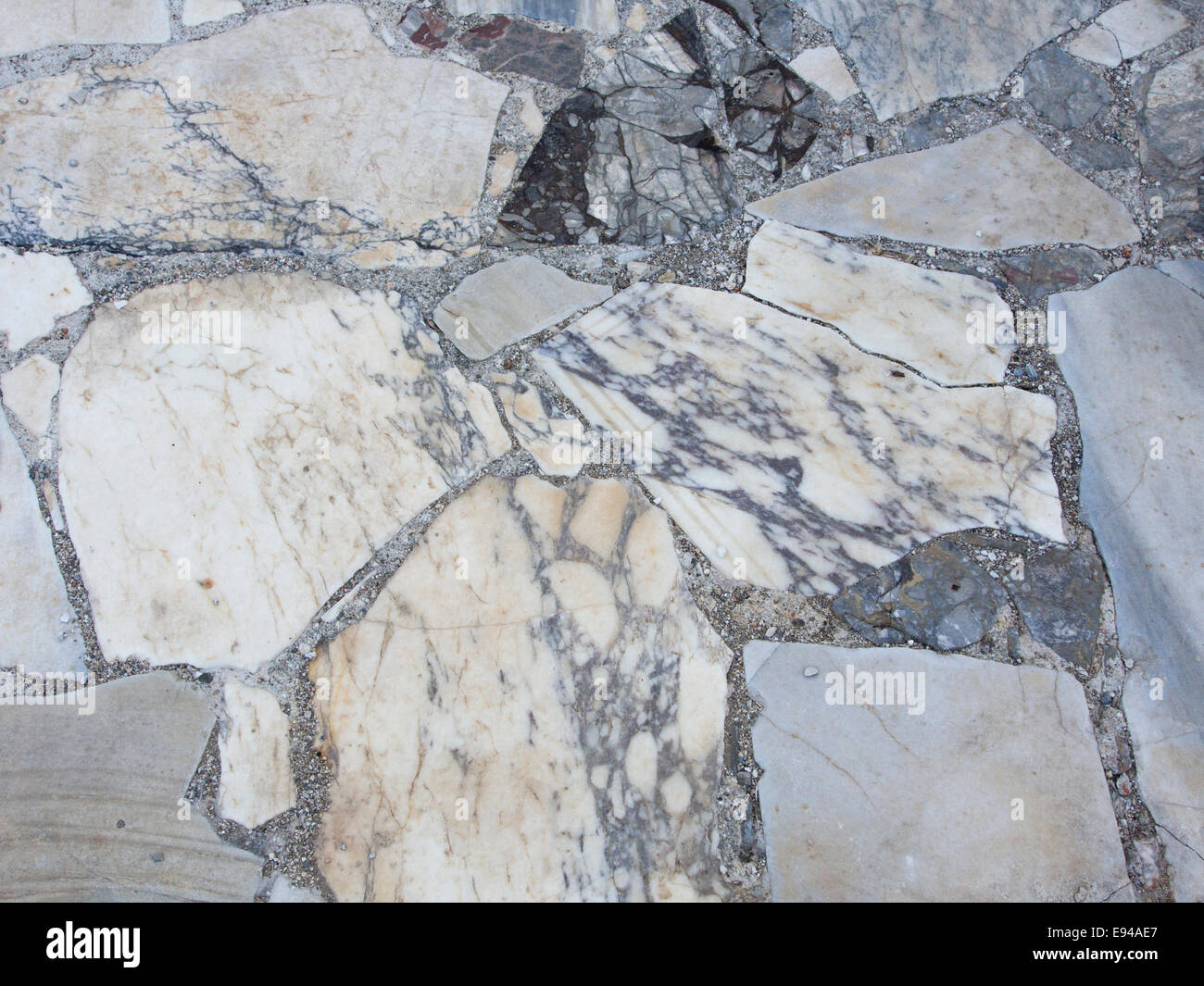Ruins of the athletic area of Ancient Samos Greece, one of the many sights near Pythagorio fragments of marble floor - Stock Image