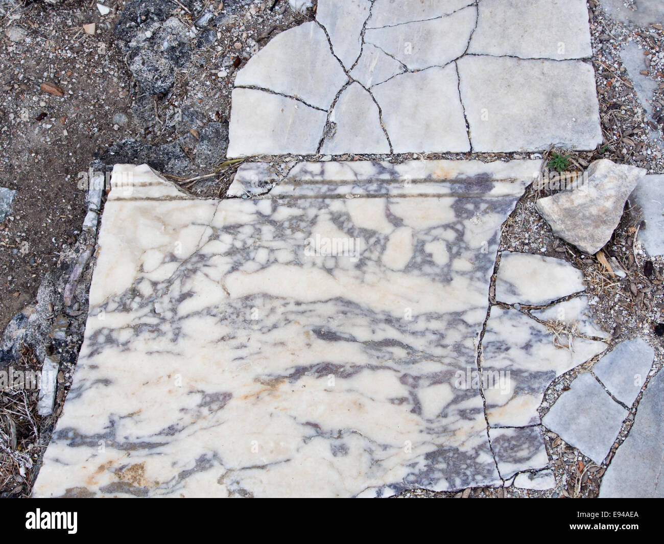 Ruins of the athletic area of Ancient Samos Greece, one of the many sights near Pythagorio, fragments of marble - Stock Image
