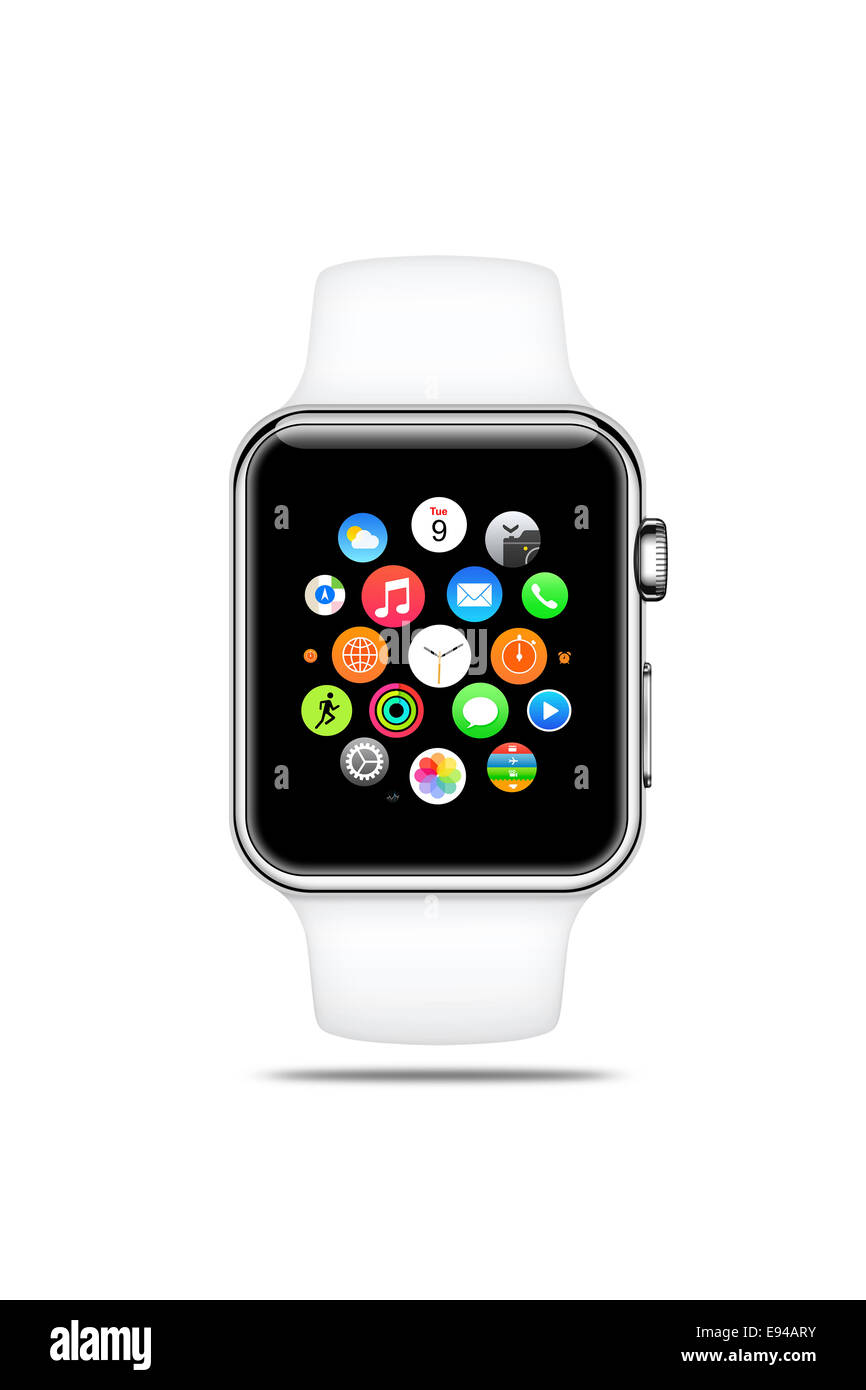 Apple watch sport white band, displaying icons, digitally generated artwork. - Stock Image