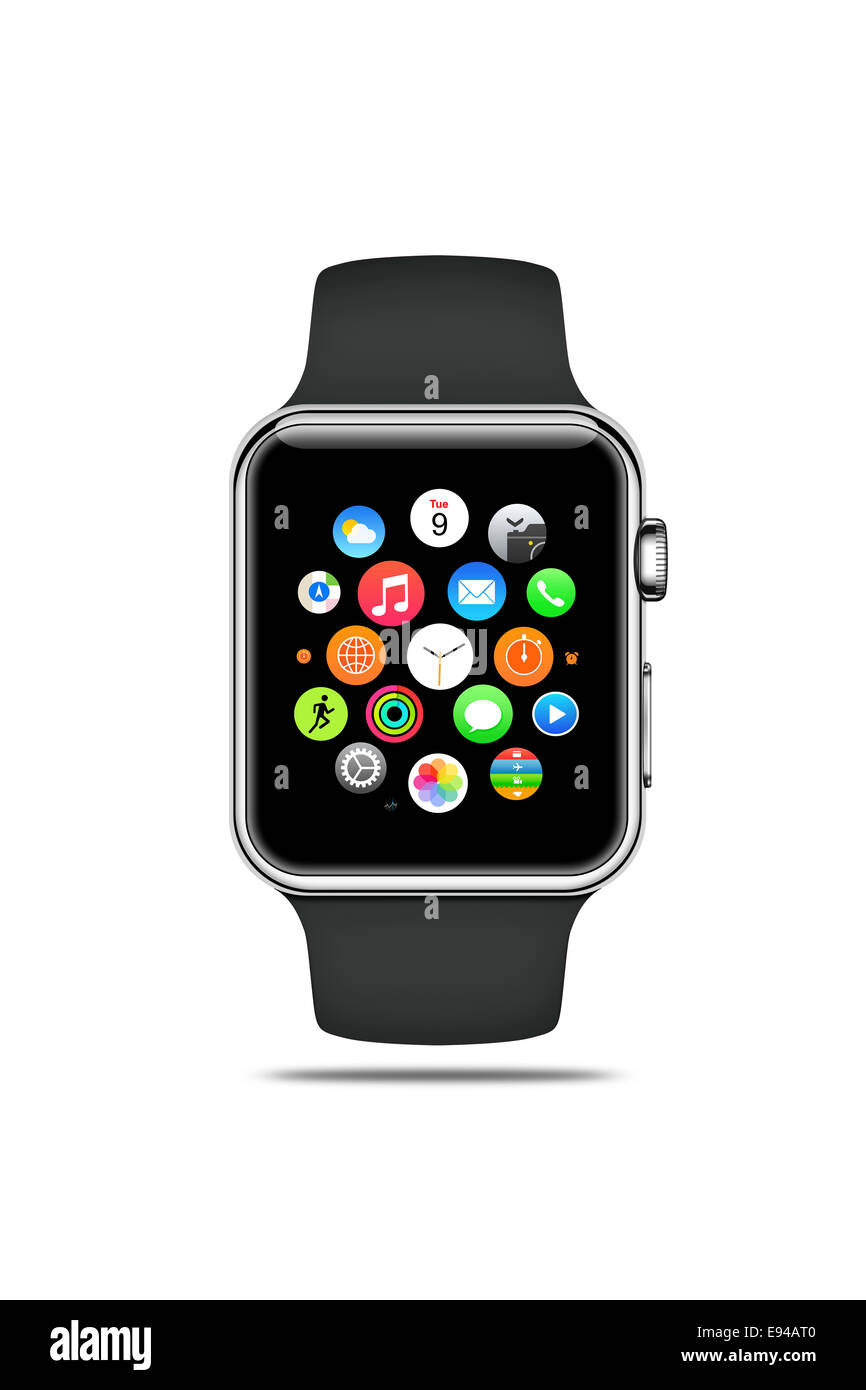 Apple watch sport (space gray band), displaying icons, digitally generated artwork. - Stock Image