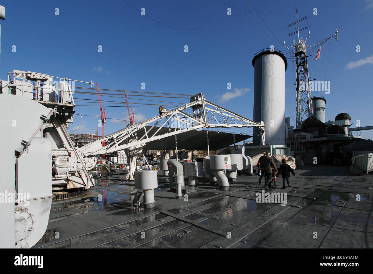 The crane used to raise and lower the Walrus spotting and rescue aircraft from and into the water HMS Belfast now Stock Photo