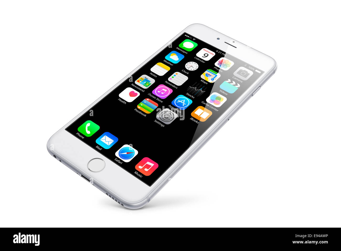Digitally generated image of cell phone, new iphone 6 silver with apps (ios 8), white background. - Stock Image