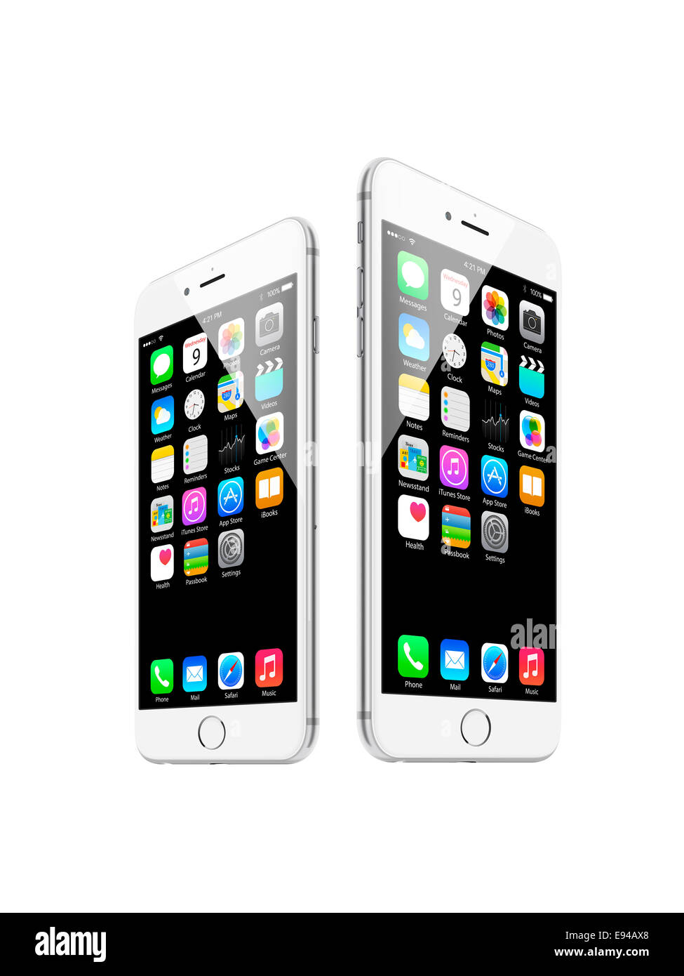 iphone 6 and iphone 6 plus silver, with apps, digitally generated artwork. - Stock Image